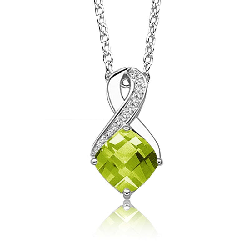 Peridot & Diamond Birthstone Pendant in Sterling Silver