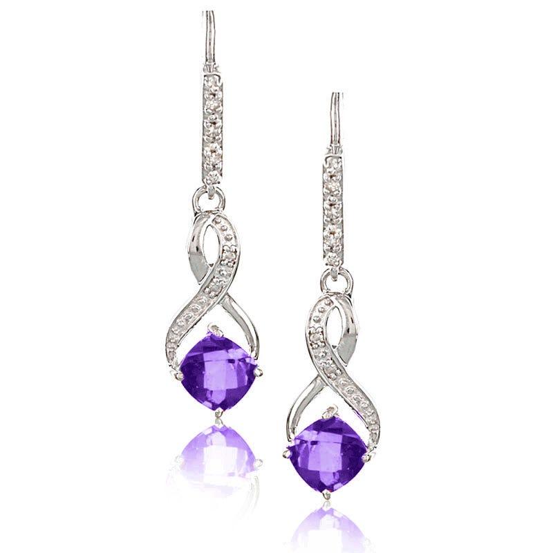 Amethyst & Diamond Dangle Earrings in Sterling Silver