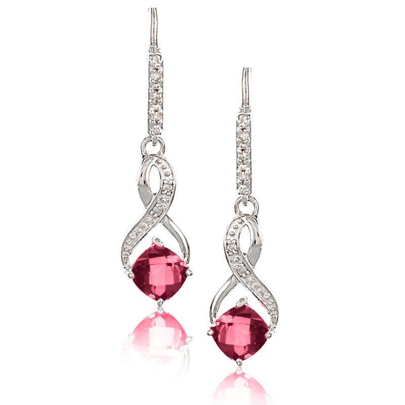 Garnet & Diamond Dangle Earrings in Sterling Silver