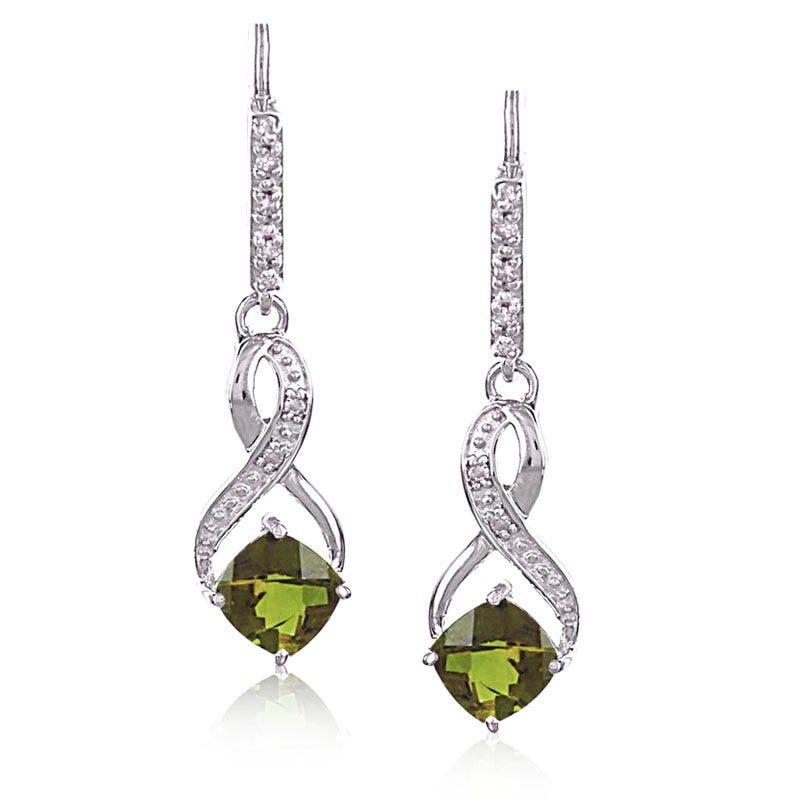Peridot & Diamond Dangle Earrings in Sterling Silver