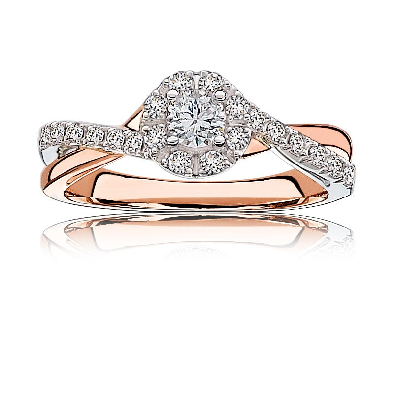 Nora. Diamond ½ctw. Pavé Halo Engagement Ring in 14k Gold