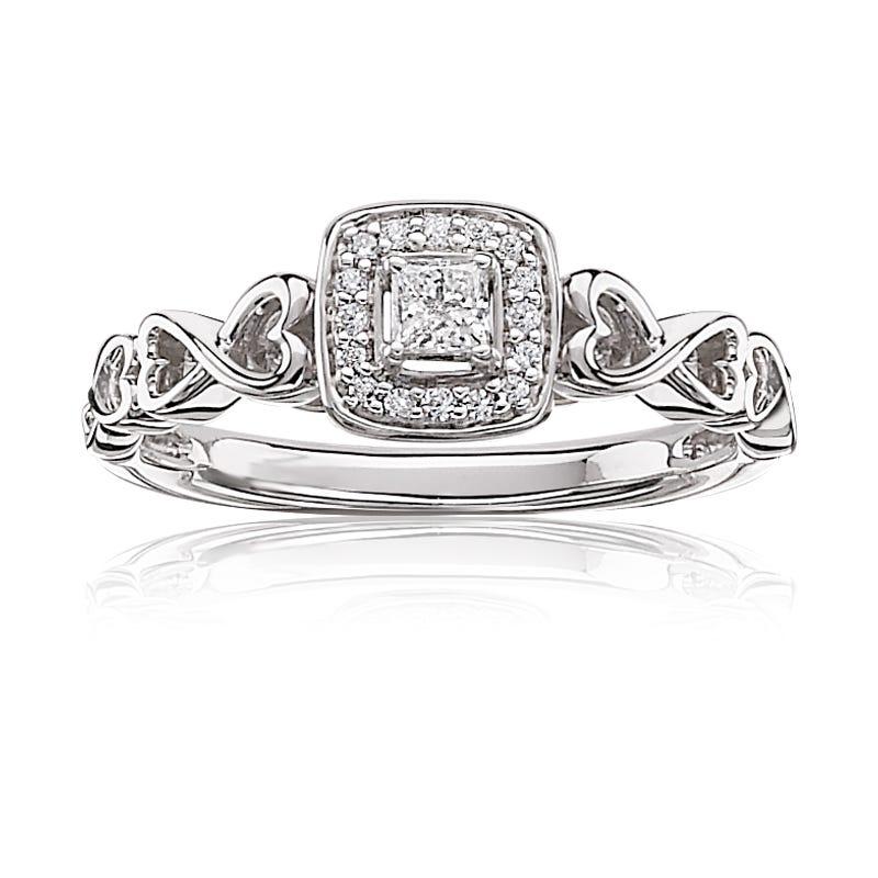 Princess-Cut & Diamond Halo Promise Ring in 10k White Gold