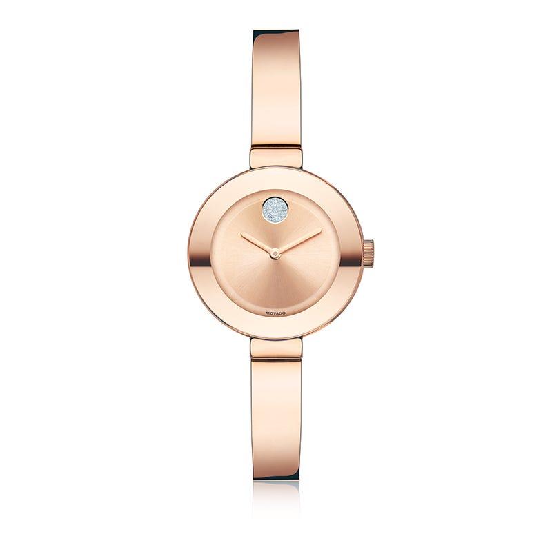Movado Bold Small Rose Gold Plated Bangle Bracelet Watch 3600286