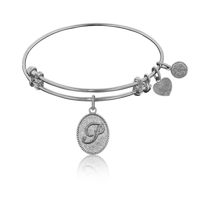 Initial P Charm Bangle Bracelet in White Brass
