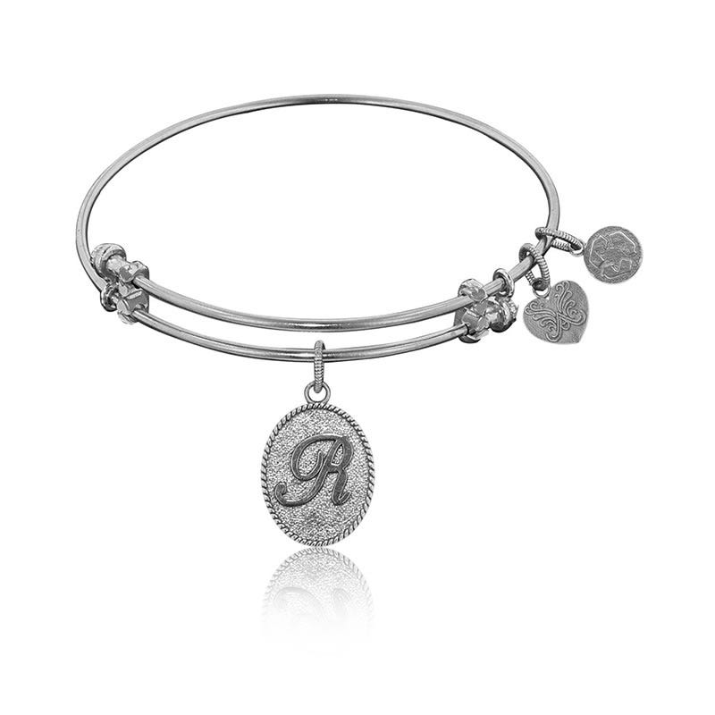 Initial R Charm Bangle Bracelet in White Brass
