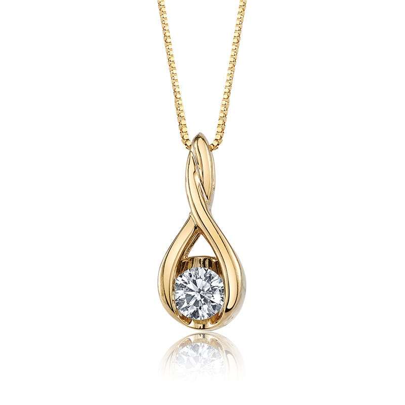 Sirena Drop Twist Diamond Pendant in 14k Yellow Gold