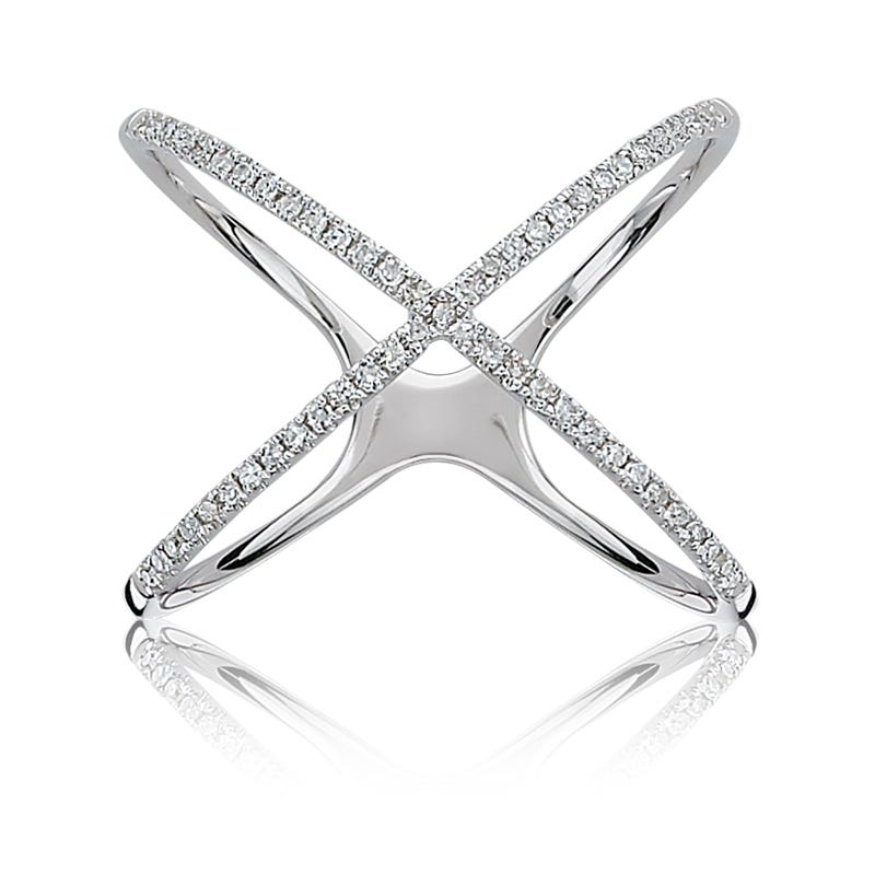 Diamond Criss-Cross Ring in 10k White Gold