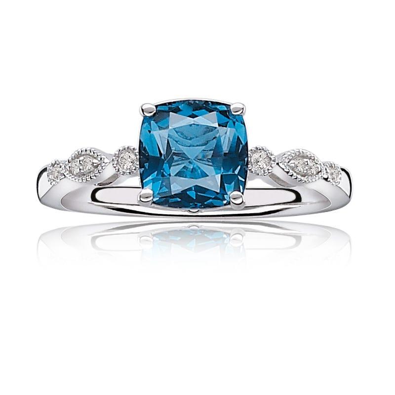 JK Crown® Blue Topaz & Diamond Ring in White Gold