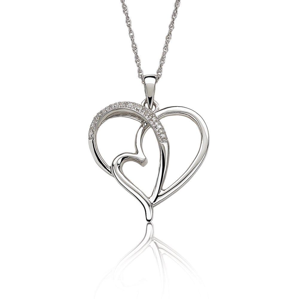 Diamond Crisscross Heart Pendant in Sterling Silver