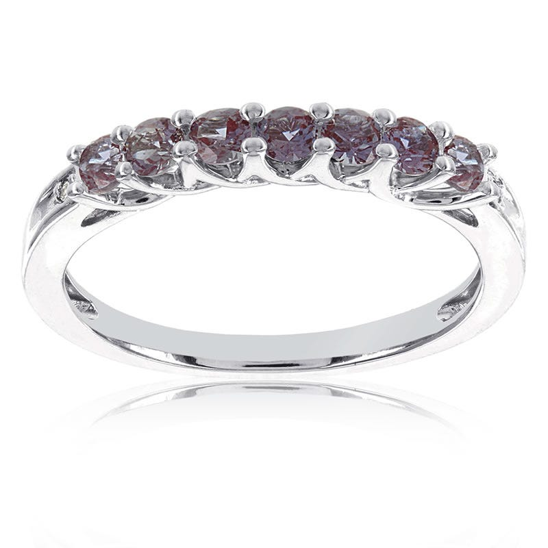 Created Alexandrite Stackable Gemstone Ring in 10k White Gold