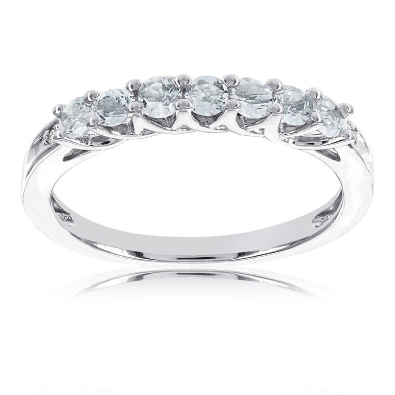 Aquamarine Stackable Gemstone Ring in 10k White Gold