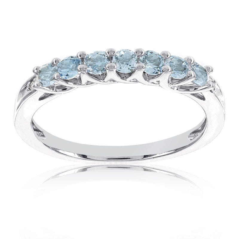Blue Topaz Stackable Gemstone Ring in 10k White Gold