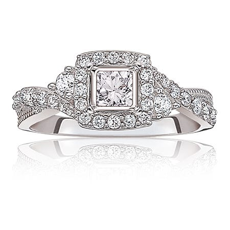 Olivia. Diamond ¾ctw. Twist Halo Engagement Ring in 14k White Gold