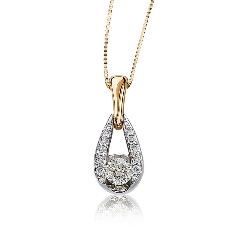 Sirena Wishbone ¼ ct. Diamond Pendant in 14k Gold