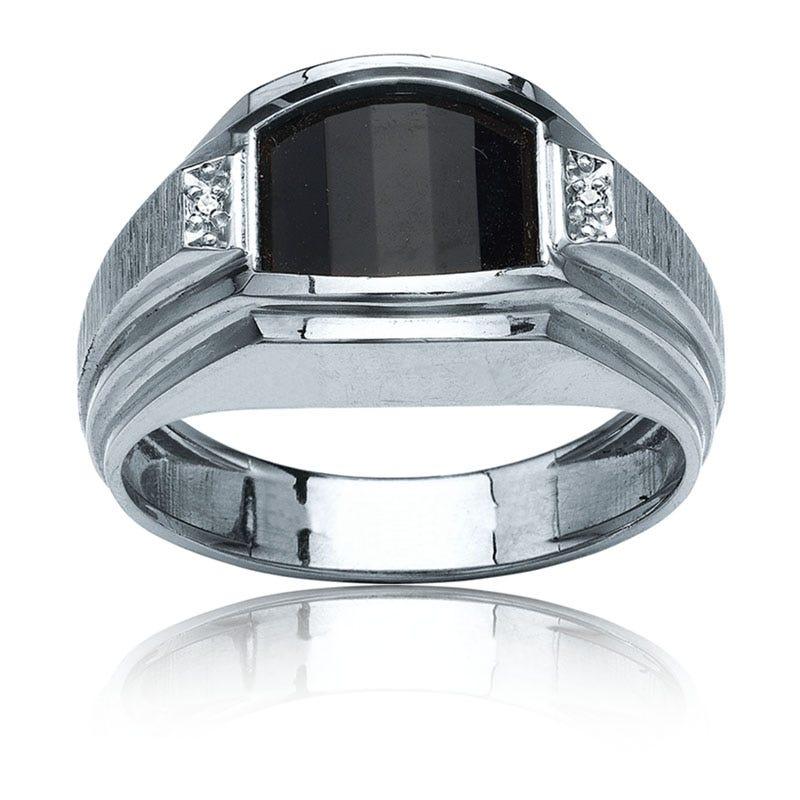 IBGoodman Men's Onyx & Diamond Ring in Sterling Silver