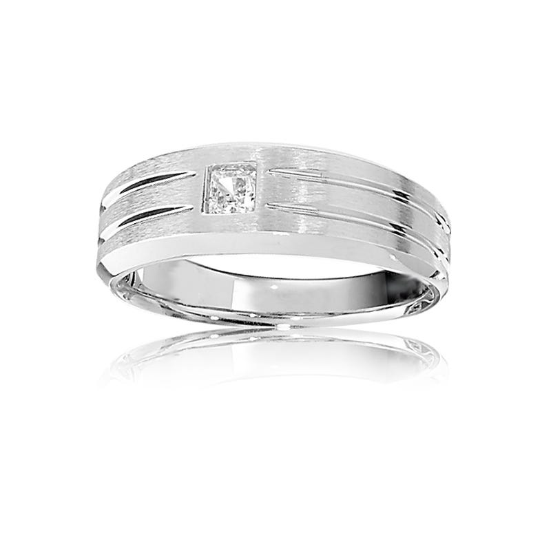 IBGoodman Men's 14k White Gold Diamond Band