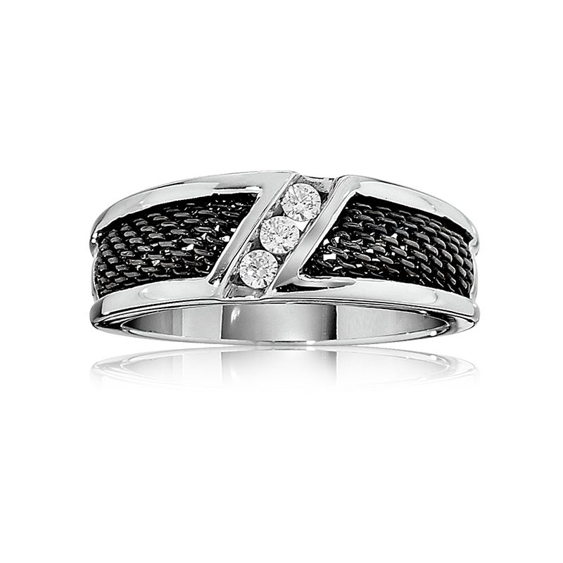 IBGoodman Men's 14k White Gold Three-Stone Diamond Band