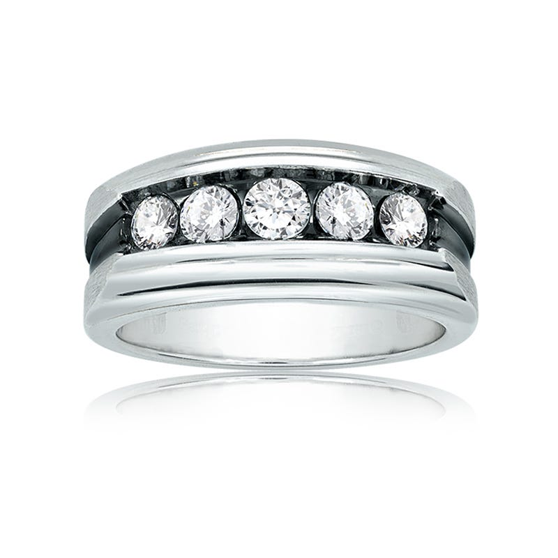 IBGoodman Men's 1ct. Diamond Band in 14k White Gold with Black Rhodium