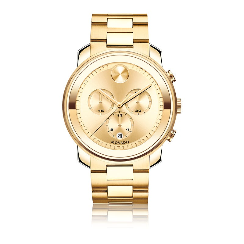 Movado BOLD Men's Metal Gold IP Chronograph Watch with Gold Dial 3600278