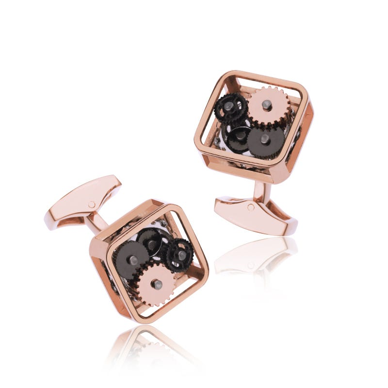 Square Rose Gold Cufflinks with Tri-Color Gears