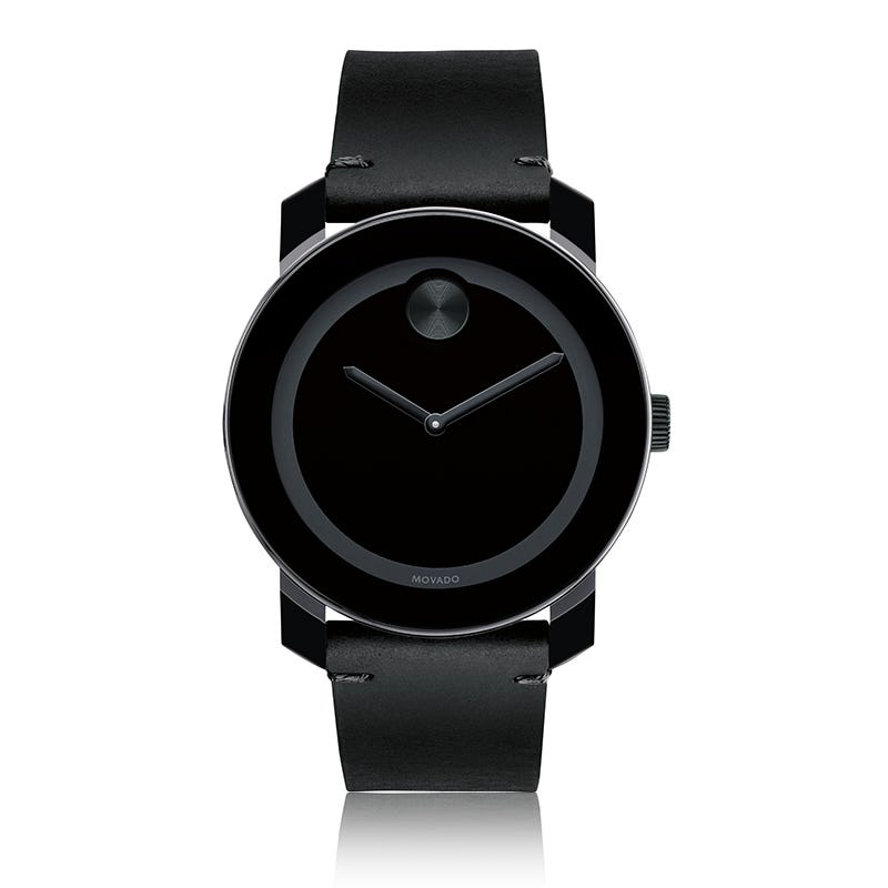 Large Movado BOLD Black Dial & Museum Dot with Leather Strap 3600306