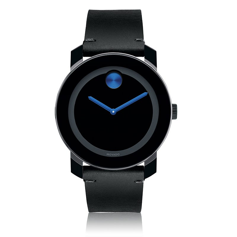 Large Movado BOLD Black Dial & Blue Museum Dot with Leather Strap 3600307