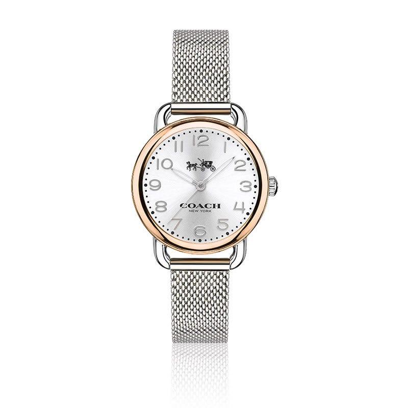 COACH Delancey Small Two-Tone Mesh Bracelet Watch