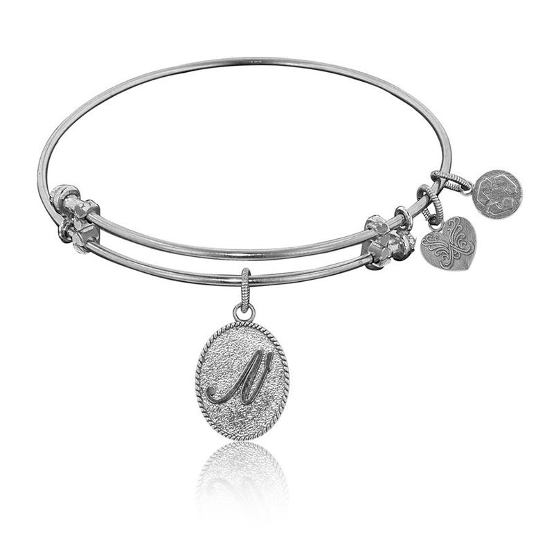 Initial N Charm Bangle Bracelet in White Brass
