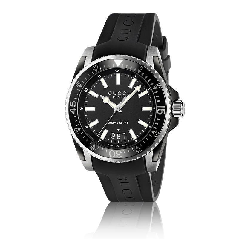 GUCCI Dive Black Rubber Strap Watch