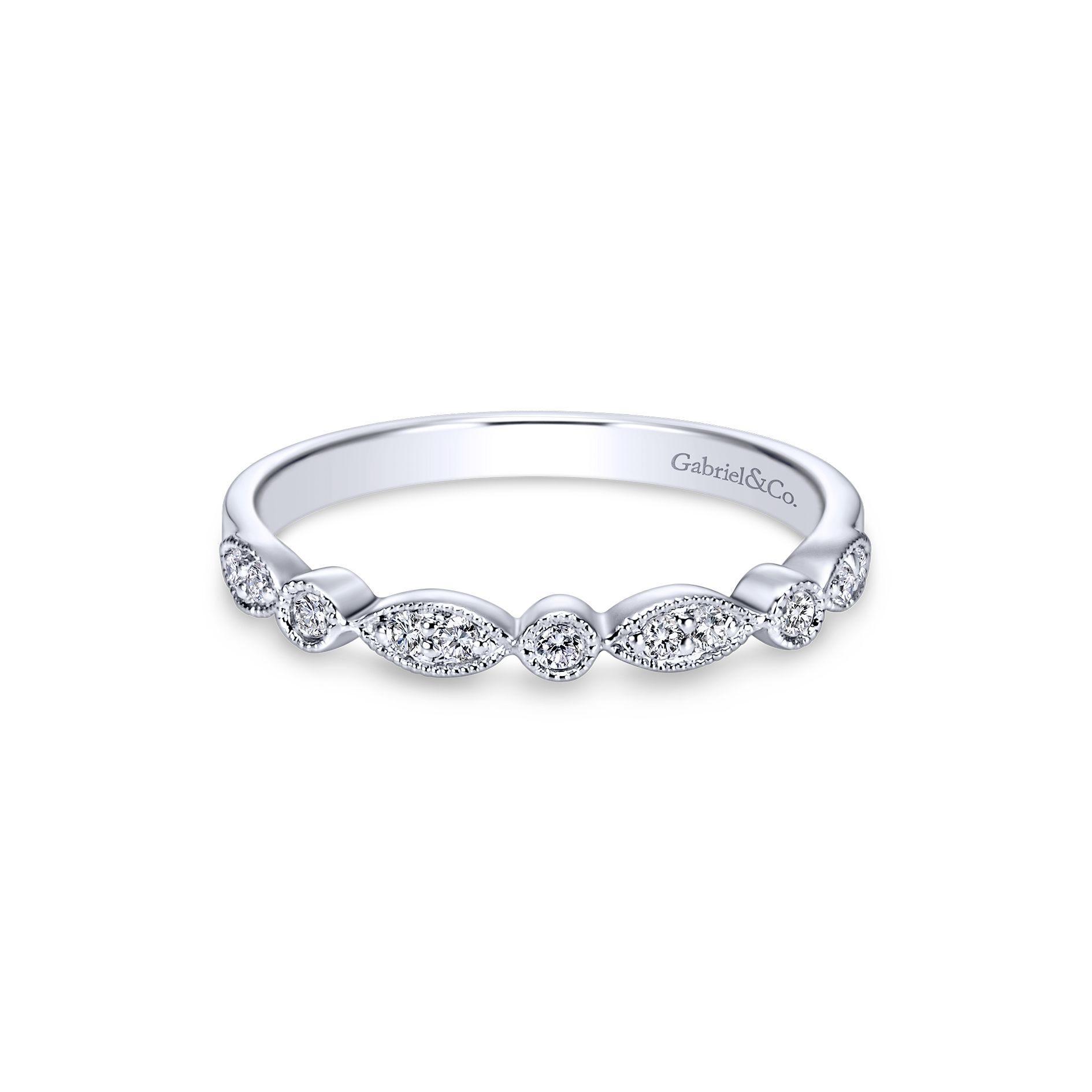 Gabriel & Co. Diamond Wedding Band in 14k White Gold WB3848W44JJ