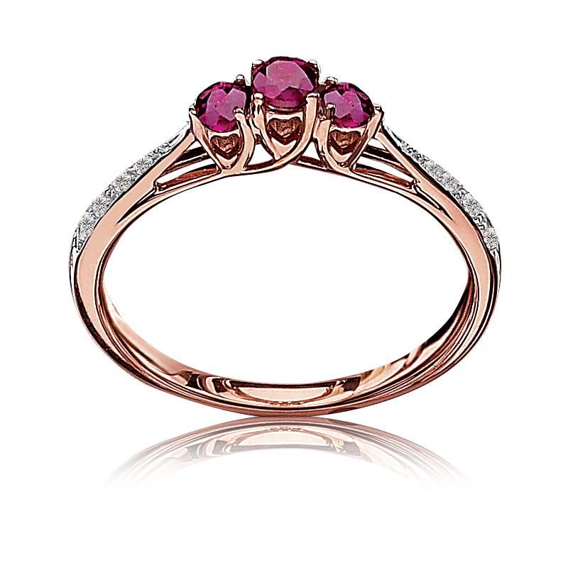 Ruby & Diamond Three-Stone Ring in 10k Rose Gold