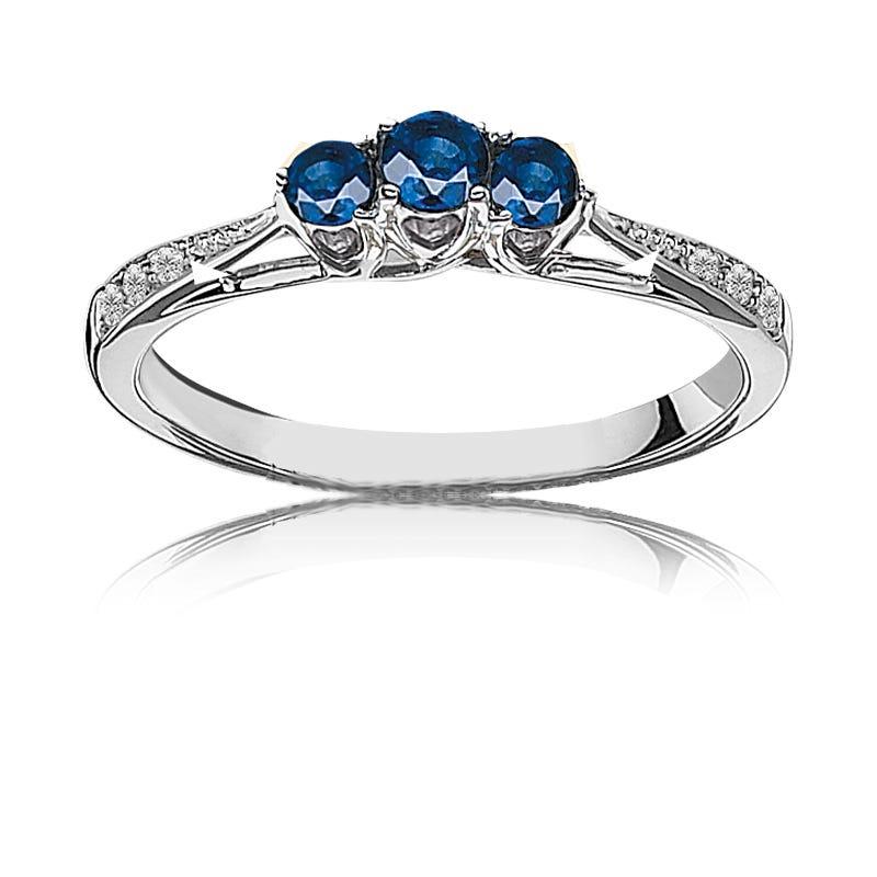 Sapphire & Diamond Three-Stone Ring in 10k White Gold