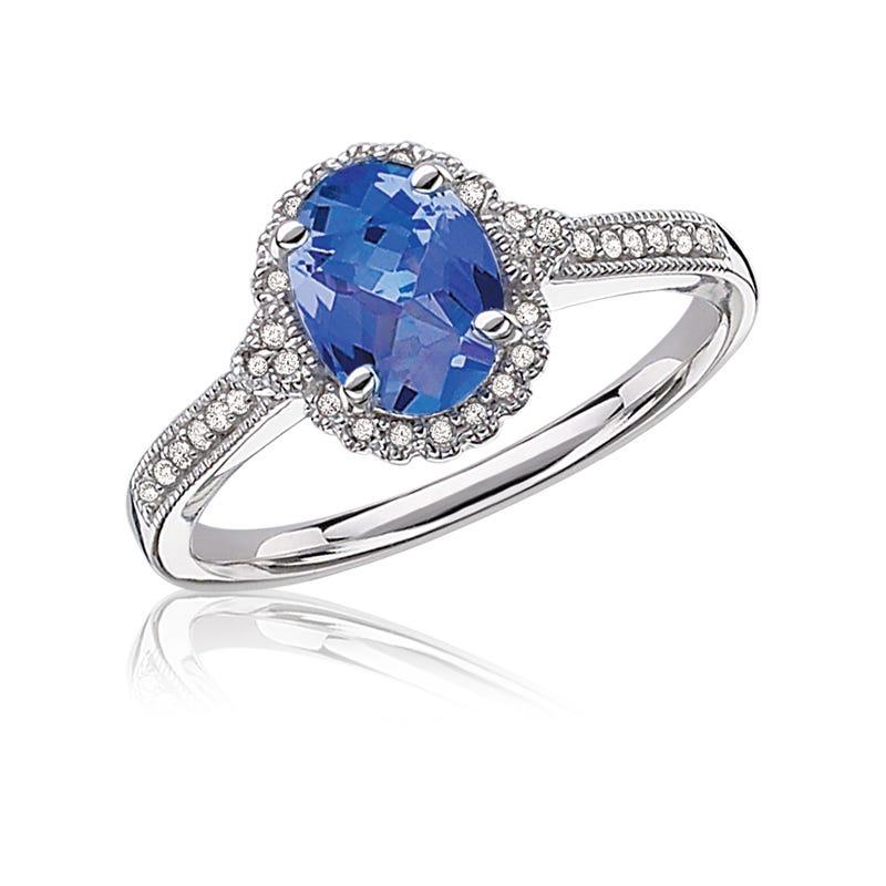 Tanzanite Oval Diamond Halo Ring in 10k White Gold