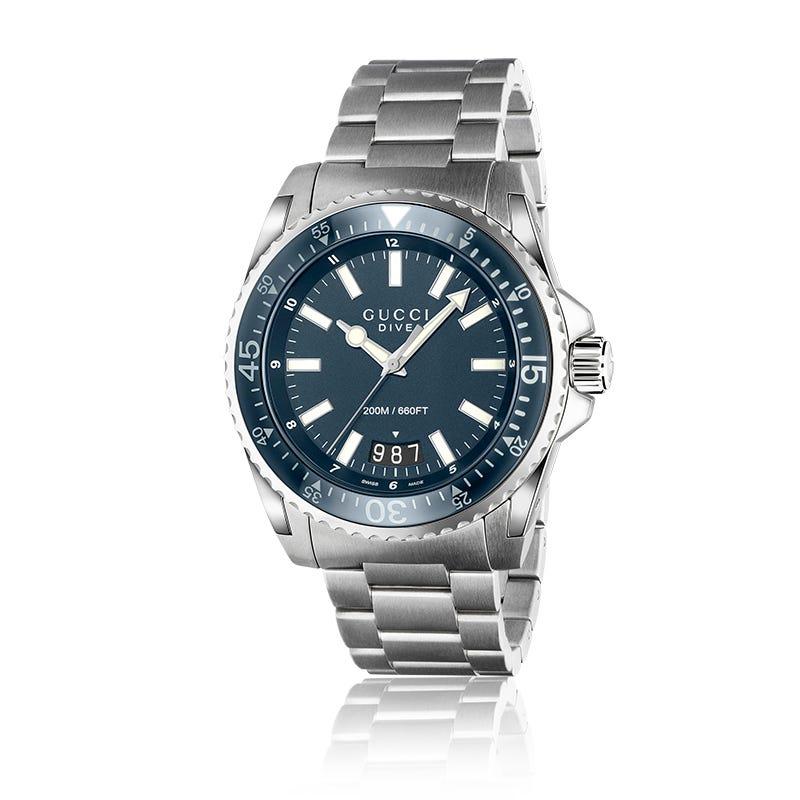 GUCCI Dive Blue Matte Steel Bracelet Watch