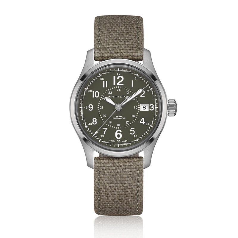 Hamilton Khaki Field Automatic Green Dial Canvas Strap Watch H70595963