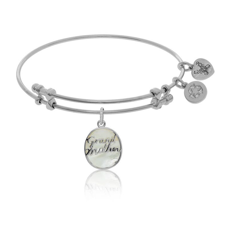 Grandmother Script Charm Bangle Bracelet in White Brass