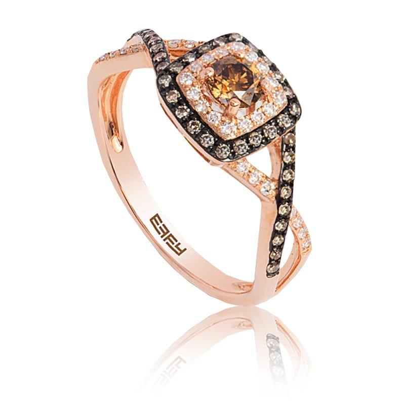 EFFY Espresso Diamond 1/2ctw. Halo Ring in Rose Gold