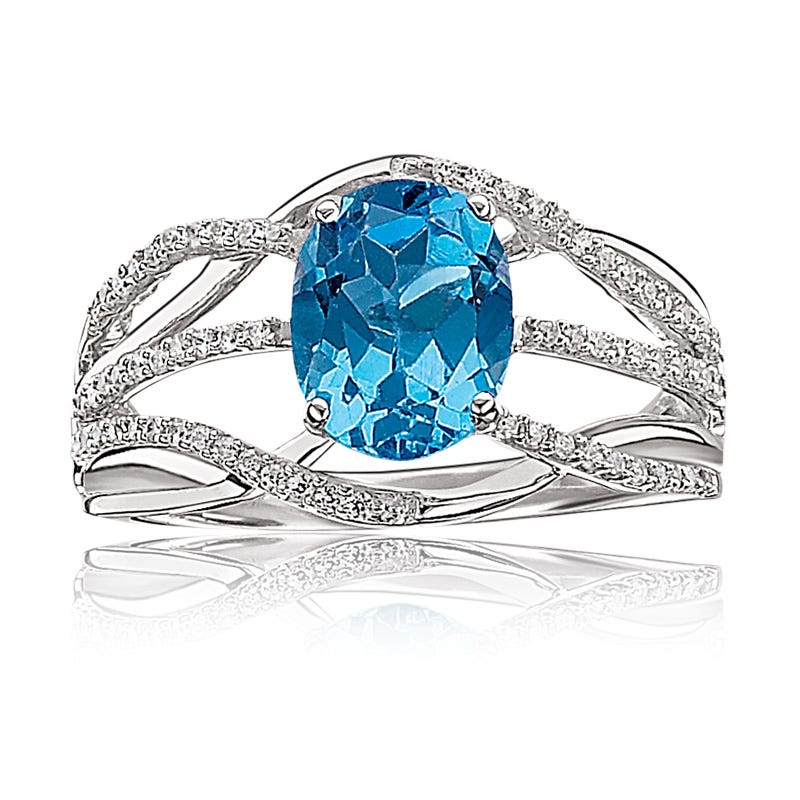Blue Topaz Oval & Diamond Ring in 10k White Gold
