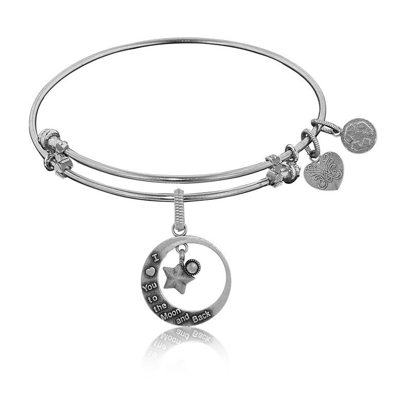 Love You To The Moon & Back Charm Bangle Bracelet in White Brass