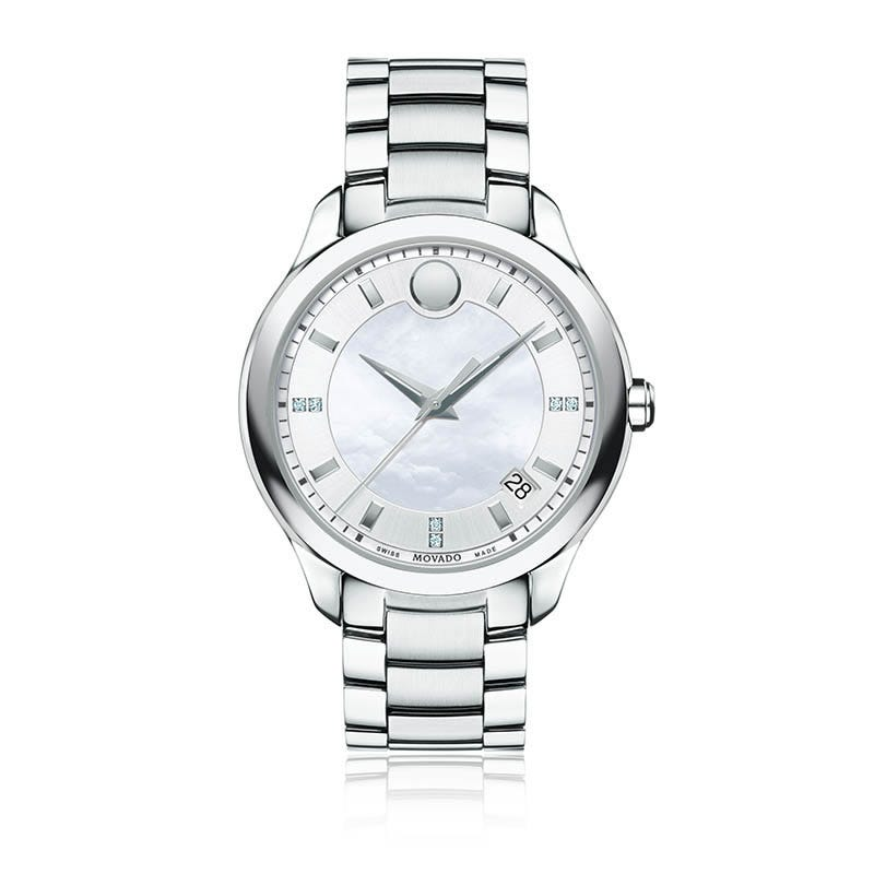 Movado Ladies Bellina™ White Dial & Diamond Markers Stainless Steel Watch 606978