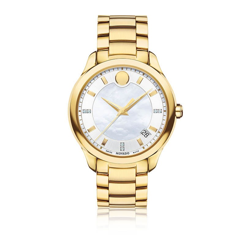 Movado Ladies Bellina™ White Dial & Diamond Markers Yellow PVD Watch 606980