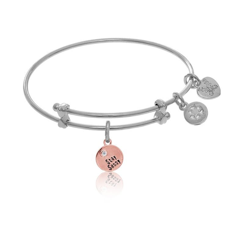 Stay Sassy Charm Tween Bangle Bracelet in White Brass