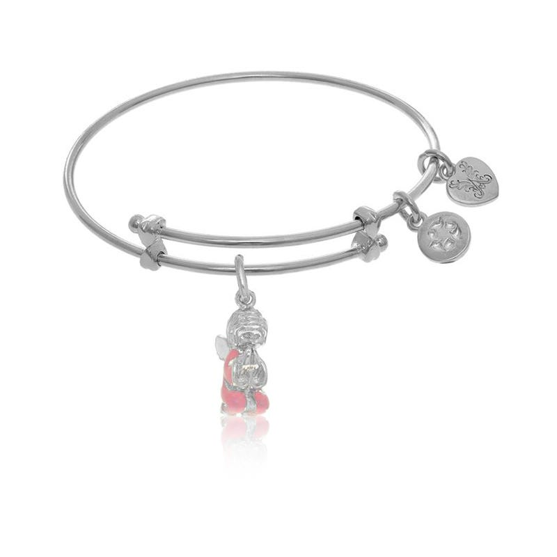 Angel Charm Tween Bangle Bracelet in White Brass