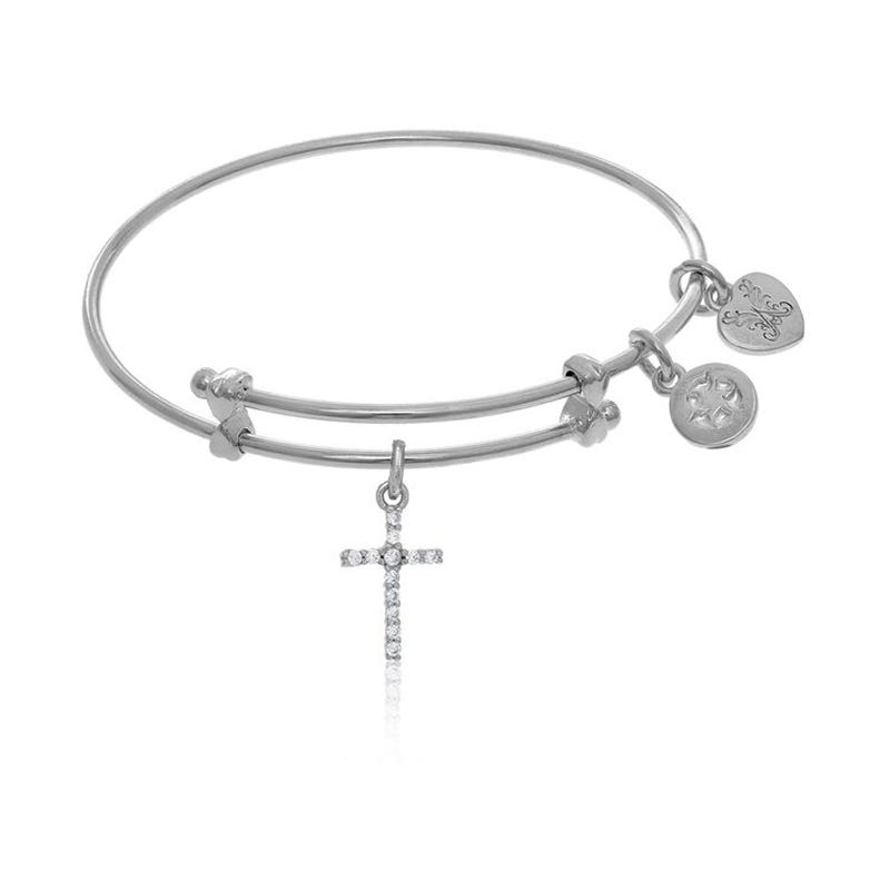 Crystal Cross Charm Tween Bangle Bracelet in White Brass