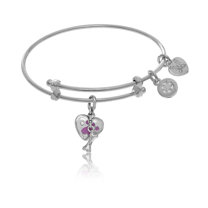 Paw Print Heart Charm Tween Bangle Bracelet in White Brass