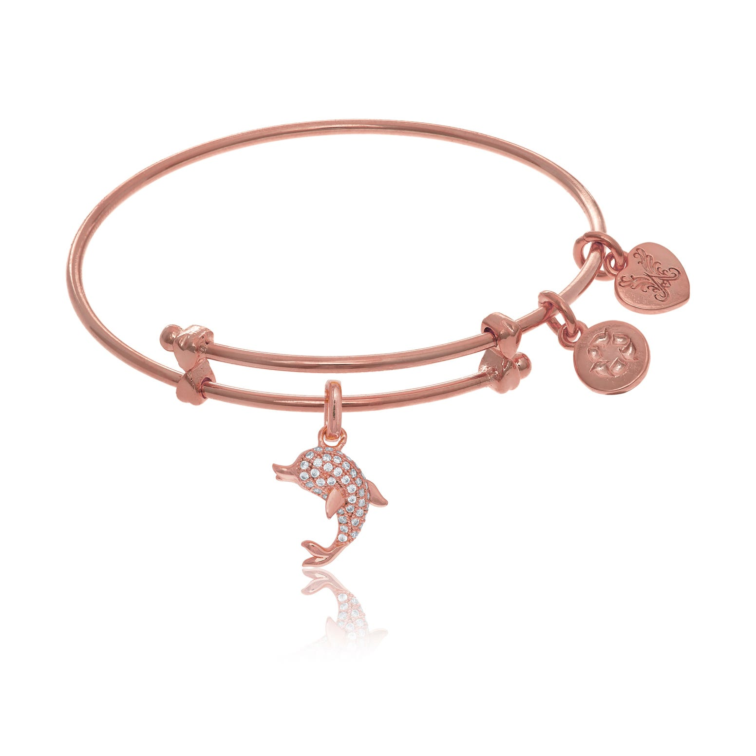 Dolphin Crystal Charm Tween Bangle Bracelet in Pink Brass