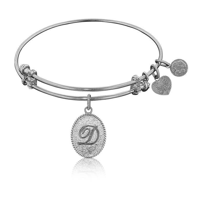 Initial D Charm Bangle Bracelet in White Brass