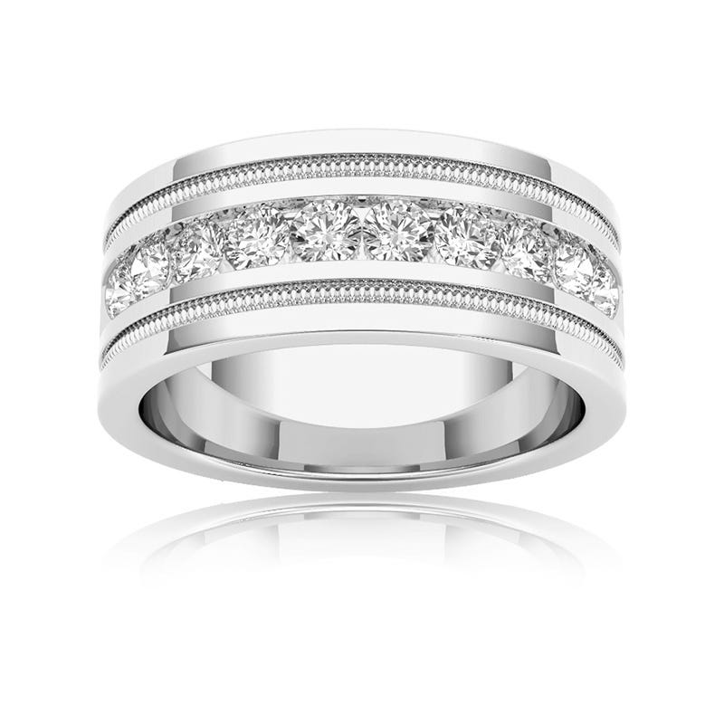 Men's Diamond 1+ Carat 10-Stone Wedding Band in 14k White Gold