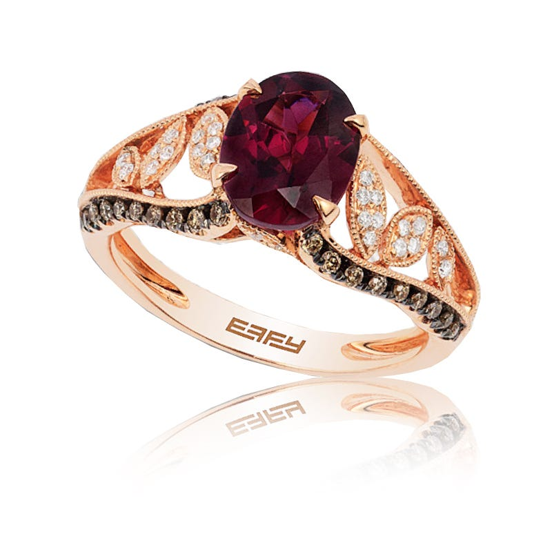 EFFY Oval Rhodolite Garnet & Espresso Diamond Ring in 14k Rose Gold