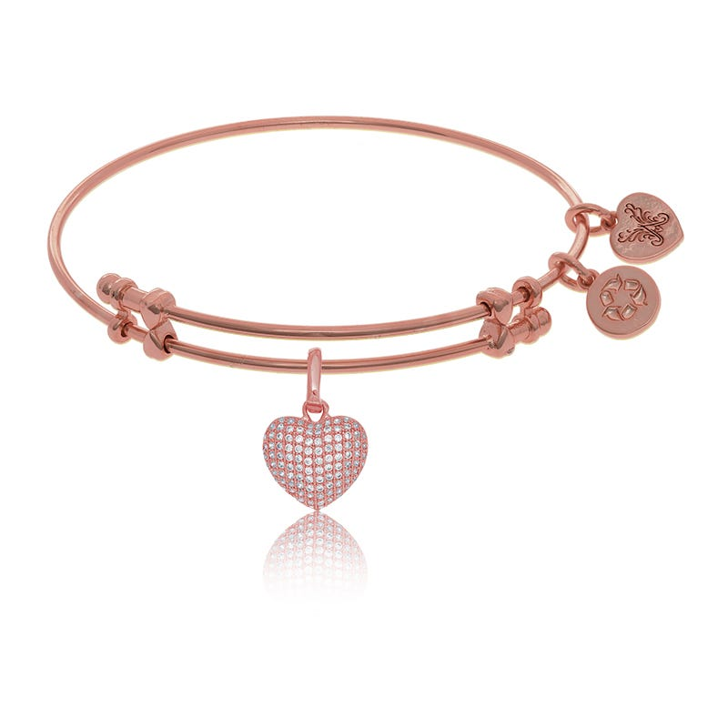 Pink Heart Crystal Charm Bangle Bracelet in Pink Brass